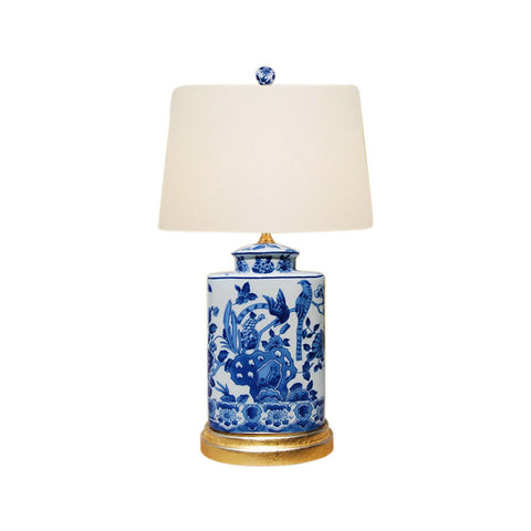 Blue and White Porcelain Caddy Floral Bird Motif Table Lamp 20""