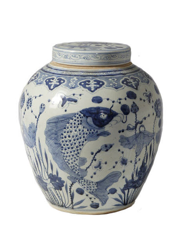 Blue and White Porcelain Ginger Jar Fish Motif 16""