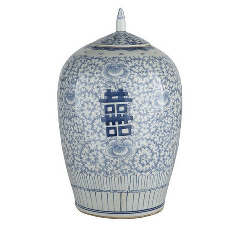 Blue & White Porcelain Double Happiness Chinoiserie Lidded Ginger Jar 14""