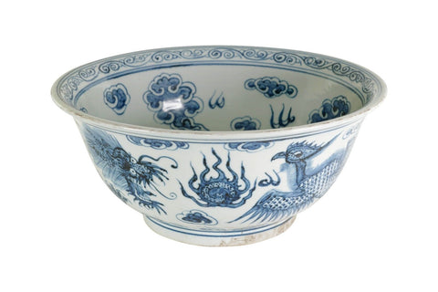 "Blue and White Porcelain Dragon and Phoenix Motif Bowl 15"" Diameter"