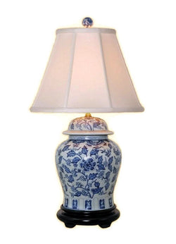 Beautiful Blue and White Porcelain Ginger Jar Table Lamp Floral Patterned 28.5""