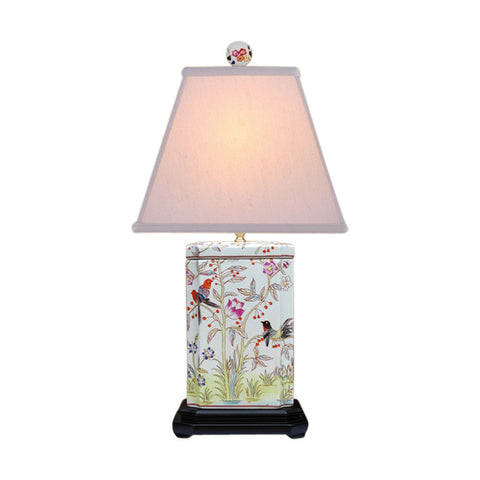 Beautiful Floral and Bird Chinese Porcelain Square Box Table Lamp 25""