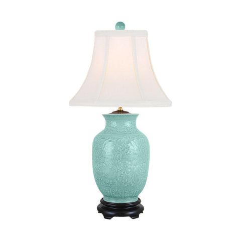 Beautiful Green Embossed Floral Porcelain Vase Table Lamp 27""