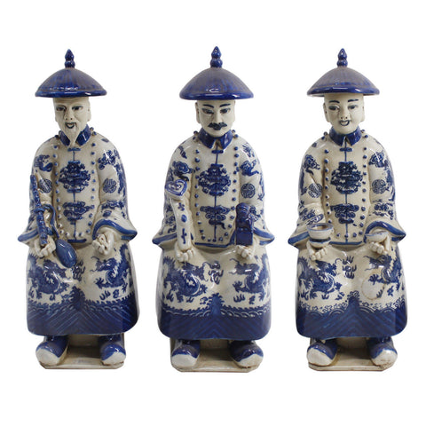 Blue and White Porcelain Chinese Qing 3 Generations Emperor Statue Figurine 11""