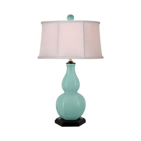 Beautiful Green Porcelain Hexagonal Vase Table Lamp 26""