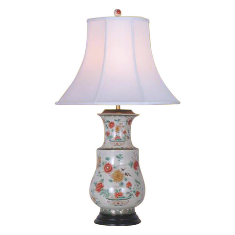 Beautiful Floral Chinese Porcelain Vase Table Lamp 34""