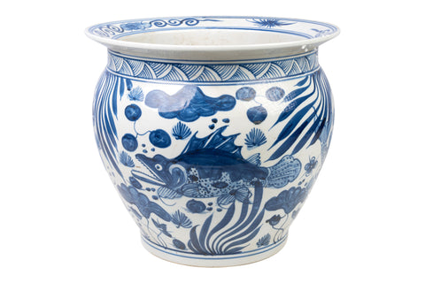 "Blue and White Porcelain Fish Motif Fish Bowl 15"" Diameter"