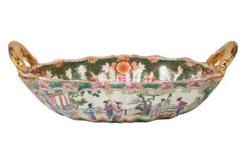 Oriental Rose Medallion Porcelain Oval Handle Tray