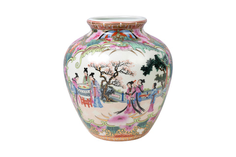 Oriental Rose Medallion Porcelain Pot 8""