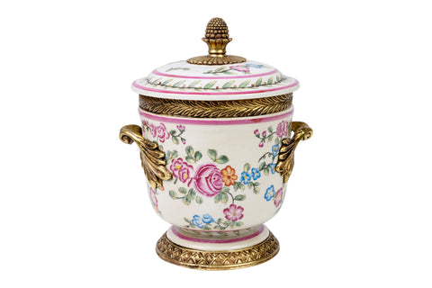 Beautiful Floral Motif Porcelain Jar Brass Ormolu Accents 8.5""