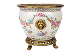 Beautiful Floral Motif Porcelain Bowl Pot Brass Ormolu Accents 10""