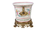 Pink Floral Porcelain Oval Pot Brass Ormolu Accents