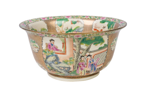 "Chinese Famille Rose Motif Porcelain Bowl 10"" Diameter"