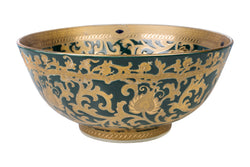 "Green and Gold Tapestry Porcelain Bowl 12"" Diameter"