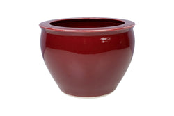 "Beautiful Red Oxblood Style Porcelain Bowl 10"" Diameter"