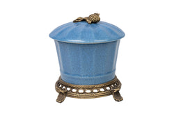 Blue Crackle Porcelain Round Jar Brass Ormolu Accent 7""