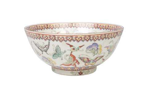 "Beautiful Chinese Butterfly Motif Porcelain Bowl 10"" Diameter"