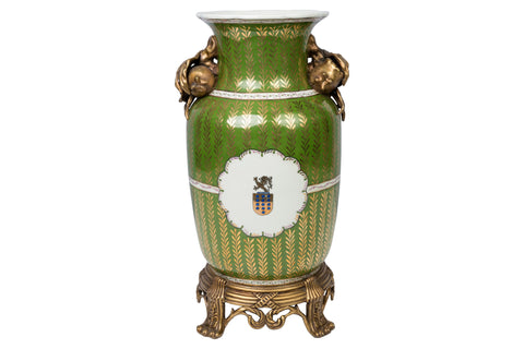 Green and Gold Crest Porcelain Flower Vase Ormolu Accent w Potting Hole 15""