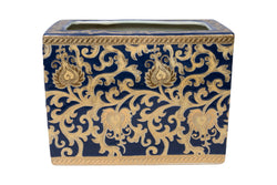 Navy and Gold Tapestry Porcelain Rectangular Tissue Box Holder