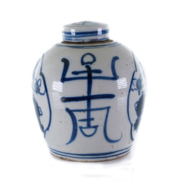 Beautiful Blue and White Longevity Treasures Ginger Jar 6""