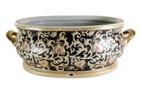 "Beautiful Large Black and Gold Tapestry Porcelain Foot Bath 22.5""L"