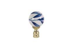 Blue and White Bamboo Leaf Ball Table Lamp Finial 2.5""