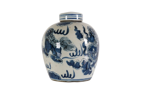 Beautiful Blue and White Foo Dog Porcelain Ginger Jar 6""
