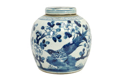 Beautiful Blue and White Porcelain Ginger Jar Floral Bird Motif 10""