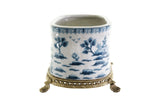 Oval Crackle Blue and White Blue Willow Porcelain Flower Pot Brass Ormolu 7.5""