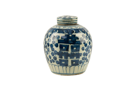 Blue and White Double Happiness Floral Porcelain Ginger Jar 6""