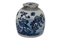 Vintage Style Blue and White Porcelain Ginger Jar Bird and Floral Motif 12""