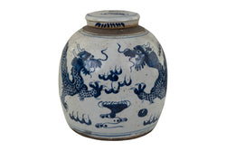 Vintage Style Blue and White Porcelain Ginger Jar Twin Dragon Motif 12""
