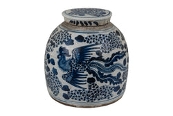 Vintage Style Blue and White Porcelain Ginger Jar Phoenix Motif 12""