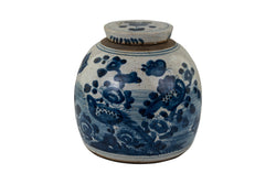 Vintage Style Blue and White Porcelain Ginger Jar Bird Motif 10""