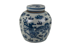 Blue and White Porcelain Ginger Jar Dragon Motif 10""