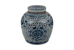 Blue and White Porcelain Ginger Jar Dotted Floral Motif 10""