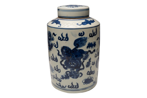 "Blue & White Porcelain Foo Dog Round Lidded Jar Canister 12"" Tall"