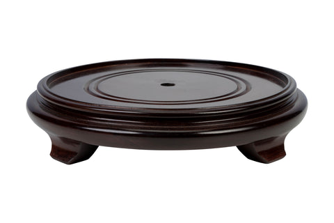 "Chinese Wood Low Round Wooden Base Dark Brown Color 2"" to 14"""