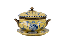 Yellow and Blue Porcelain Tureen with Tray Brass Ormolu Accents 6.5""