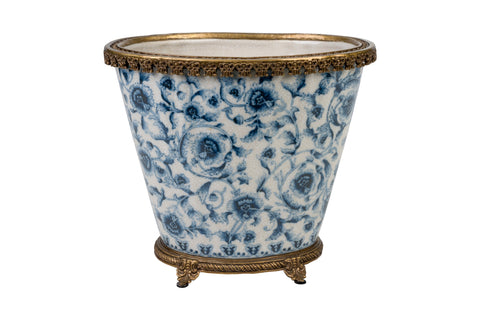 "Blue and White Chinoiserie Floral Porcelain Oval Flower Pot 9.5"" Ormolu Accent"