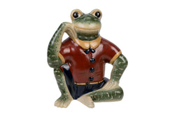 Cute Porcelain Sitting Frog Figurine In Red Jacket 10""