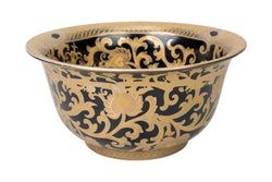 "Black and Gold Tapestry Porcelain Contour Bowl 10"" Diameter"