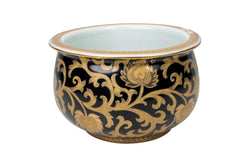 "Black and Gold Tapestry Porcelain Cache Bowl 8"" Diameter"