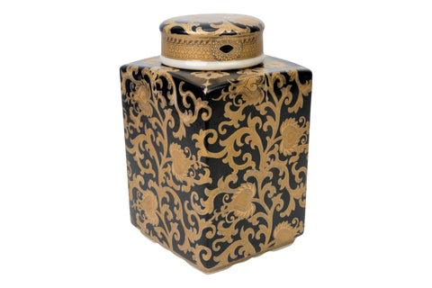 Chinese Black and Gold Tapestry Square Porcelain Tea Jar 10.5""