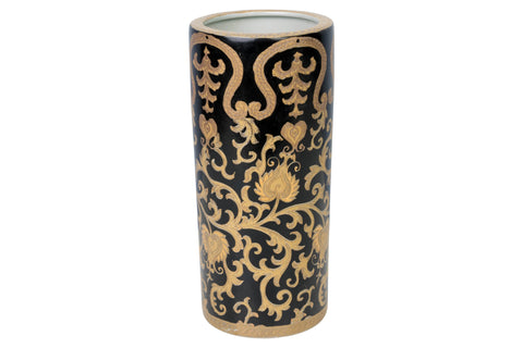 Chinese Round Black and Gold Tapestry Porcelain Vase 12""
