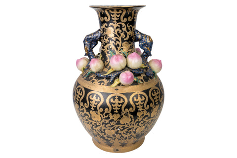 Large Chinese Black and Gold Tapestry Porcelain Vase Peach Accents 24""