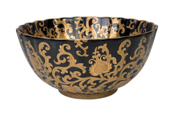 "Black and Gold Tapestry Scalloped Porcelain Bowl 12"" Diameter"