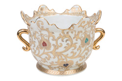 Chinese White and Gold Tapestry Porcelain Crown Pot 7""