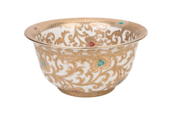 "Chinese White and Gold Tapestry Porcelain Bowl 10"" Diameter"