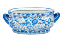 Beautiful Mini Blue and White Floral Porcelain Oval Handle Pot